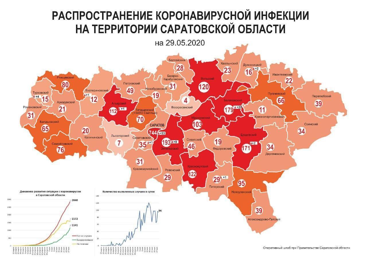 В Саратовской области обновили карту распространения коронавируса